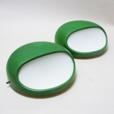Set of 2 4035 Green wall lamps from the sixties by Gerd Lange for Kartell