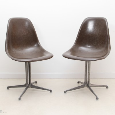 DSW Chocolate With La Fonda Base dining chair by Charles & Ray Eames for Herman Miller, 1950s