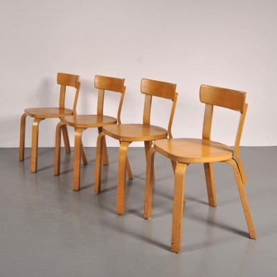 Set of 4 dining chairs by Alvar Aalto for Artek, 1950s