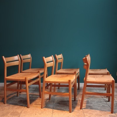 Set of 6 Model BM 1 dinner chairs from the sixties by Børge Mogensen for C. M. Madsens Fabrikker
