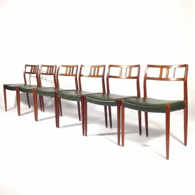 6 Model 79 dinner chairs from the fifties by Niels O. Møller for JL Møller Møbelfabrik