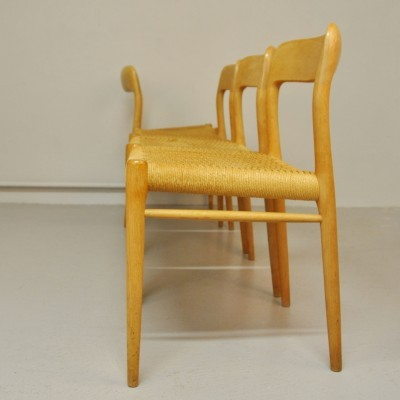 Set of 4 Model 77 dinner chairs from the sixties by Niels Otto Møller for J L Møller