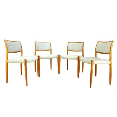 Set of 4 model 80 dinner chairs from the sixties by Niels Otto Møller for J L Møller