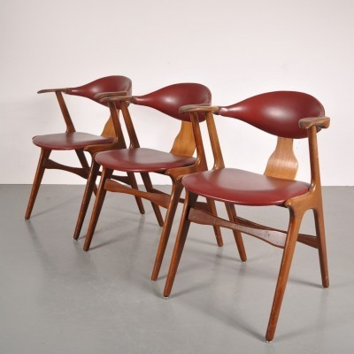 3 x Cowhorn dining chair by AWA, 1950s
