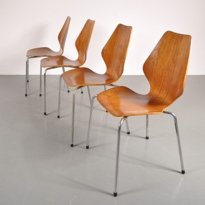 Set of 4 dining chairs by Øyvind Iversen for More Möbel, 1950s