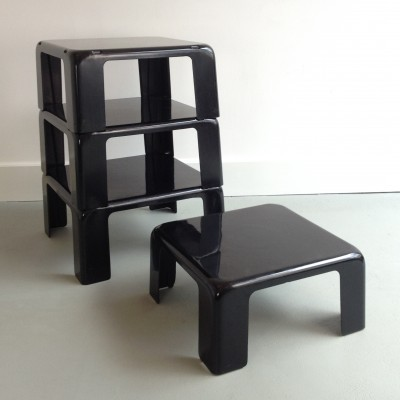 Set of 4 Gatti nesting tables by Mario Bellini for C & B Italia, 1970s