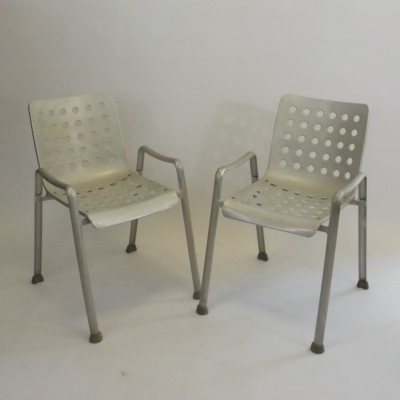 Set of 2 Landi Outdoor dinner chairs from the fifties by Hans Coray for MEWA Switzerland
