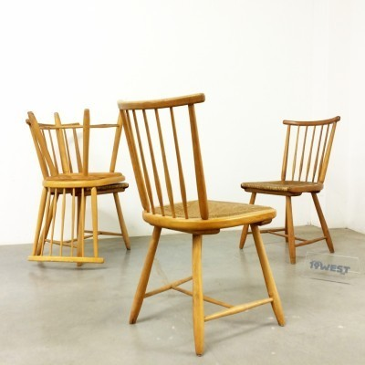 Set of 4 dinner chairs by Arno Lambrecht for WK Möbel, 1950s
