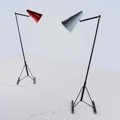 2 Eiffel Tower Base floor lamps from the fifties by H. Busquet for Hala Zeist