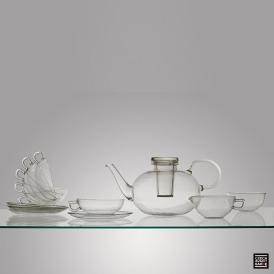 Glass Tee Service from the thirties by Wilhelm Wagenfeld for Jena er Glas Schott Gen Germany