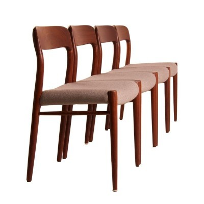 Set of 4 Model 75 dining chairs by Niels Otto Møller for Moller, 1950s