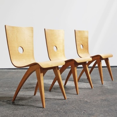 Pair of G. van Os dinner chairs, 1950s