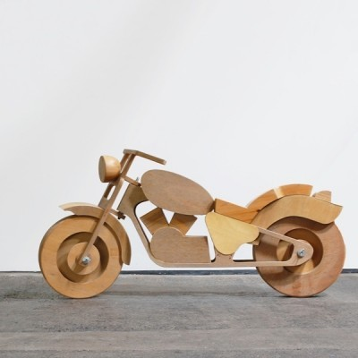 Vintage Plywood Motorcycle art by unknown designer for unknown producer