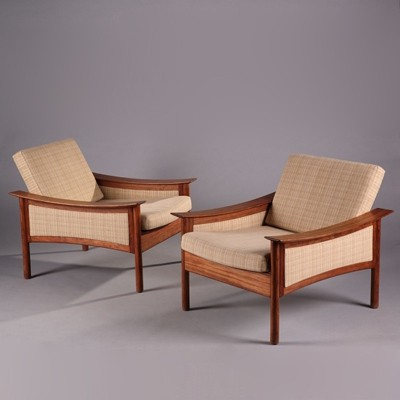 Pair of lounge chairs by Oskar Langlo for P. I. Langlos Fabrikker AS Stranda Norway, 1950s