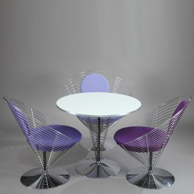 Wire Cone dinner set from the eighties by Verner Panton for Fritz Hansen
