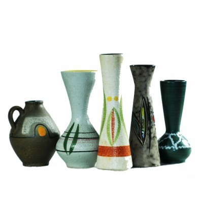 Set of 5 West Germany vases, 1950s