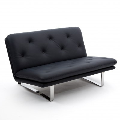 Dark blue leather 2-seater sofa by Kho Liang Ie for Artifort, 1960s
