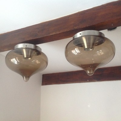 Pair of Dijkstra Lampen ceiling lamps, 1960s