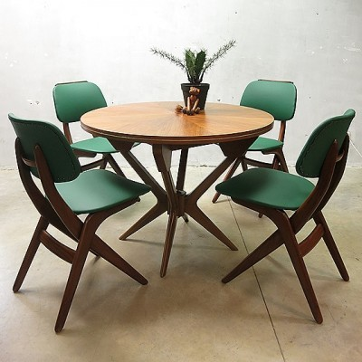 4 dinner chairs from the sixties by Louis van Teeffelen for Wébé