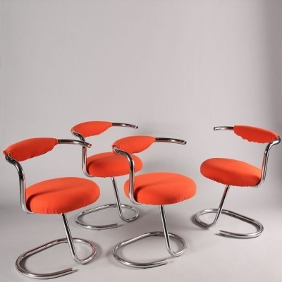 Set of 4 Giotto Stoppino dinner chairs, 1970s