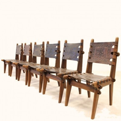Set of 6 dinner chairs from the sixties by Angel I. Pazmino for Meubles De Estilo Wood