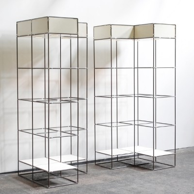 Set of 2 Storage Systems Abstracta wall units from the sixties by Poul Cadovius for unknown producer