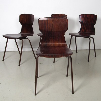 Set of 4 Eromes dining chairs, 1950s