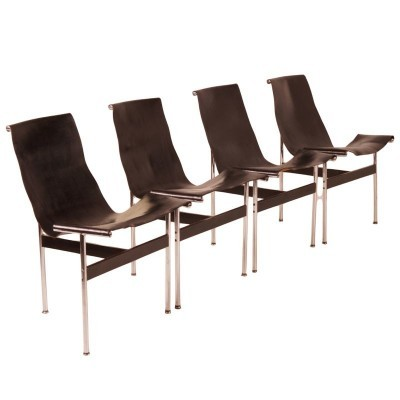 Set of 4 T-Chairs dining chairs by William Katavolos & Ross Littell for Laverne International, 1950s