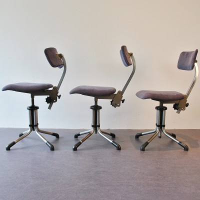 3 x model 360 office chair by Christoffel Hoffmann for Gispen, 1950s