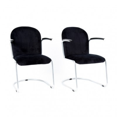 4 413 L arm chairs from the thirties by W. Gispen for Gispen