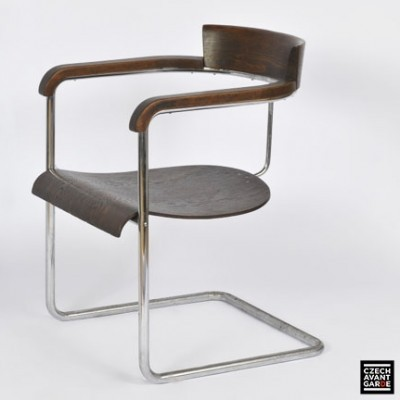 H 128 arm chair by Jindřich Halabala for UP Závody Brno, 1930s