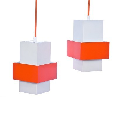 Set of 2 hanging lamps from the seventies by J. Hoogervorst for Anvia Almelo