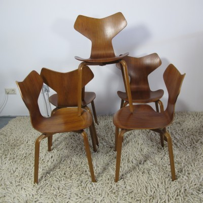 5 Grand Prix dinner chairs from the fifties by Arne Jacobsen for Fritz Hansen
