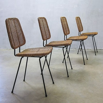 Set of 4 model 550 dinner chairs from the fifties by Dirk van Sliedregt for Rohé Noordwolde