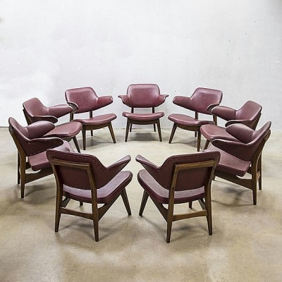 6 arm chairs from the sixties by Louis van Teeffelen for Wébé