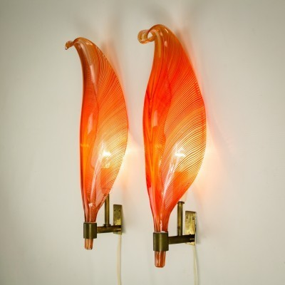 Pair of Leaf wall lamps by Barovier & Toso, 1960s