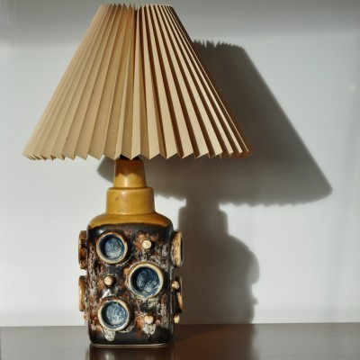 Ceramic Table Lamp of Glazed Stoneware with Abstract Relief Motive, 1970s