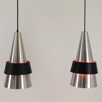 Pair of Corona hanging lamps by Jo Hammerborg for Fog & Mørup, 1960s
