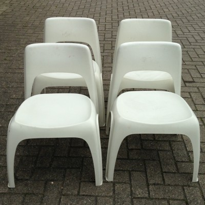 Set of 4 dinner chairs by Preben Fabricius for Interplast, 1960s