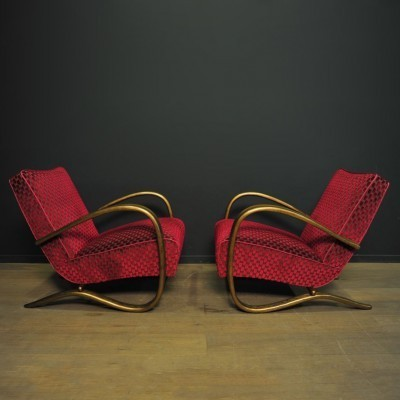 Pair of H269 arm chairs by Jindřich Halabala for Thonet, 1920s