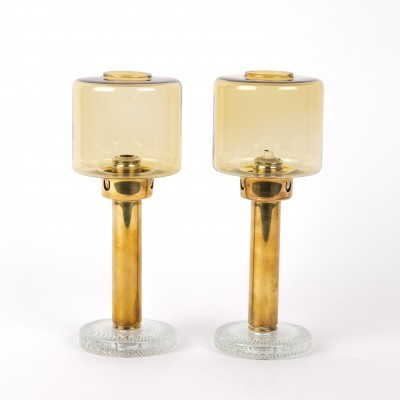 Hans Agne Jakobsson brass & glass candle holders, Sweden 1950s