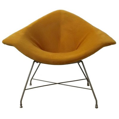 Golden lounge chair by Augusto Bozzi for Fratelli Saporiti, 1950s