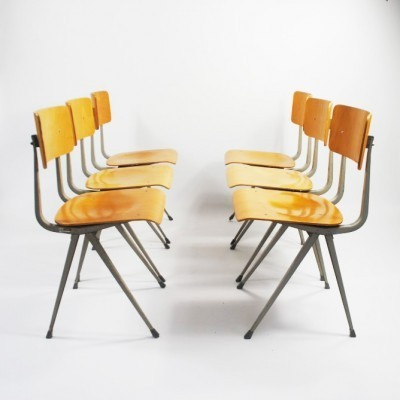 Set of 6 Result dining chairs by Friso Kramer & Wim Rietveld for Ahrend de Cirkel, 1950s