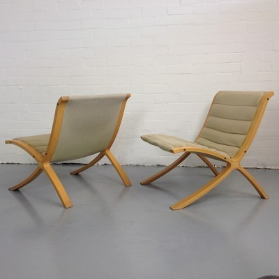 Pair of AX lounge chairs by Peter Hvidt & Orla Mølgaard Nielsen for Fritz Hansen, 1940s