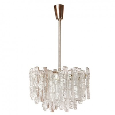 Ice Cube Glass Chandelier hanging lamp from the sixties by unknown designer for Kalmar