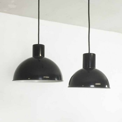 Set of 2 BUNKER MIDI + MINI hanging lamps from the sixties by Jo Hammerborg for Fog & Mørup