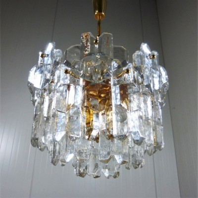 Ice Glass Chandelier hanging lamp by Kalmar, 1970s