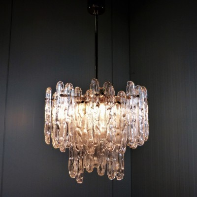 Ice Glass Chandelier Hanging Lamp by Unknown Designer for Kinkeldey