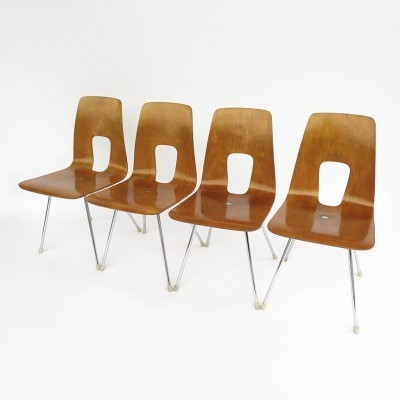 Set of 4 Einpunkt dinner chairs from the sixties by Hans Bellmann for Horgen Glarus