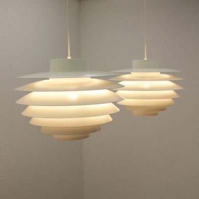2 Verona 485 hanging lamps from the sixties by Sven Middelboe for Nordisk Solar